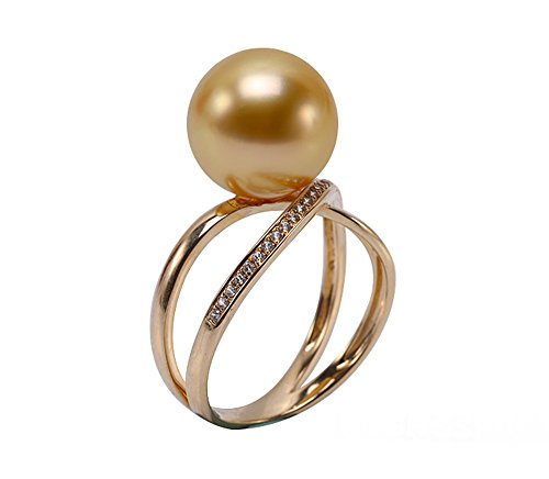 JYX Luxus 11 mm Gold Runde Südseeperle Ring in 14 Karat Gold