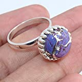Purple Copper Turquoise 925 Sterling Silver Rings Jewelry